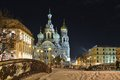 Night winter Church Savior on Blood in St-Petersburg Royalty Free Stock Photo