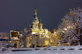 Night winter photo of  Russian Church in center of Sofia city Royalty Free Stock Photo