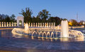 Night at the World War Two Memorial Washington Monument District Royalty Free Stock Photo