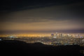 Nightfall across the los angeles basin a glowing view of at night from surrounding hills Stock Image