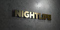 Nightlife - Gold text on black background - 3D rendered royalty free stock picture Royalty Free Stock Photo