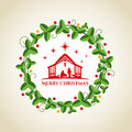 Nightly christmas scenery: mary and joseph in a manger with baby Jesus in the crib and circle wreath graphics vector design Royalty Free Stock Photo