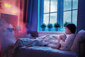 Nightmare for children little child girl is afraid of monsters in the dark of night Stock Photos