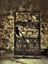 Nightmare scenario with guillotine and stone background Royalty Free Stock Photography