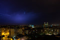 Nightshot of barcelona skyline during an electrical storm on a summer night Stock Images