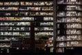Nightshot of two office buildings in barcelona spain people working Royalty Free Stock Images