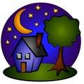 Noc modrý dom klip umenie
