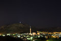 Nighttime in mostar sky over the cultural capital southern bosnia and herzegovina the lighted cross on hum mountain is the Stock Images