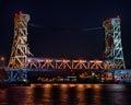 Nighttime at portage lake houghton hancock lift bridge hancock mi from porvoo park michigan Stock Images