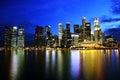 Night skyline of singapore cbd Royalty Free Stock Photo