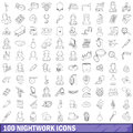 100 nightwork icons set, outline style Royalty Free Stock Photo