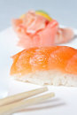 Nigiri Sushi with Salmon Stock Image