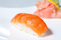 Nigiri Sushi with Salmon Stock Photos