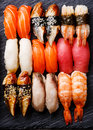 Nigiri sushi set close up Royalty Free Stock Photo
