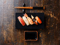 Nigiri sushi set and soy sauce Royalty Free Stock Photo