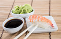 Nigiri Sushi with Soy Sauce and Wasabi Royalty Free Stock Photo