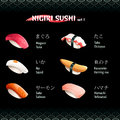 Nigiri sushi with tuna octopus herring roe yellowtail salmon and squid Royalty Free Stock Photo