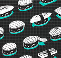 Nigiri sushi vector seamless pattern. Japanese food cover in vintage sketch style. Royalty Free Stock Photo