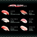 Nigiri sushi vi with tuna sea bass alfonsino swordfish and parrotfish Royalty Free Stock Photography