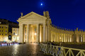 Nigth view of сolonnade on saint peter s square in rome italy Royalty Free Stock Image