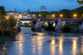 Nigth view of Palatino bridge Stock Photography