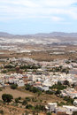 Nijar a typical andalusian village aerial view of whitewashed in the province of almeria spain with greenhouses in the background Stock Photography