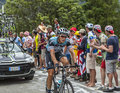 Niki terpstra climbing alpe d huez france july the dutch cyclist from team sky the difficult road to during the stage Royalty Free Stock Image