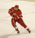 Niklas lidstrom passes the puck of detroit red wings during a game against colorado rockies at joe louis arena during Royalty Free Stock Photo