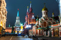 Nikolskaya street in moscow at night time russia it is one of the oldest and one of the attractions Stock Photo