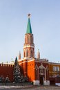 Nikolskaya tower of moscow kremlin at red square at sunrise russia Stock Photo