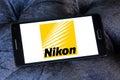 Nikon logo of camera manufacturer on samsung mobile phone a Stock Photos