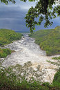 The nile river downstream from murchsion falls looking down just below murchison in uganda Royalty Free Stock Photography