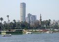 Nile scenery in cairo riverside egypt with boats and ships Stock Images