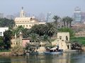 Nile scenery at giza sunny illuminated in egypt in misty back Royalty Free Stock Image