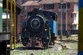 Nilgiri mountain railway. Blue train. Unesco heritage. Narrow-gauge. Steam locomotive in depot