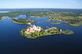 The nilo stolobenskaya nil deserts and lake seliger view stolobensky orthodox monastery from a height Royalty Free Stock Photo