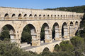 Nimes aqueduct pont du gard ancient roman of france Royalty Free Stock Images