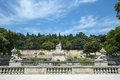 Nimes park gard languedoc roussillon france statues and fountain in the Stock Photos