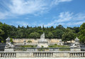 Nimes park gard languedoc roussillon france statues and fountain in the Stock Photo