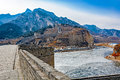Nine arch bridge on great china wall panorama of and at water gates section of the known as the over water Royalty Free Stock Image