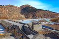 Nine arch bridge on great china wall and at water gates section of the known as the x over water x jiumenkou Royalty Free Stock Photos