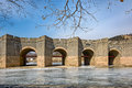 Nine arch bridge on great china wall in winter and at water gates section of the known as the over water jiumenkou Stock Photos