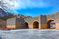 Nine arch bridge on great china wall in winter and at water gates section of the known as the over water jiumenkou Royalty Free Stock Photography