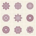 Nine beautiful circular ornament. Mandala. Big set of beautiful ethnic ornaments