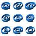 Nine blue icons e mail on a white background Stock Image