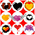 Nine Brand New Hearts, Wings and Fire. Royalty Free Stock Image