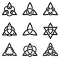 Nine Celtic Triangle Knots Royalty Free Stock Photo