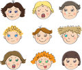 Nine childrens faces with different moods Stock Photography