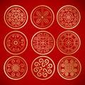 Nine Chinese Vintage Round Sym...