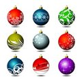 Nine christmas ball Stock Photos